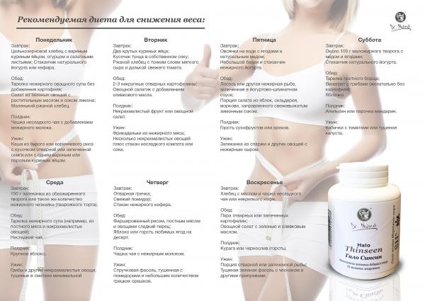 Рекомендуемая диета для снижения веса вместе с препаратом Синсин